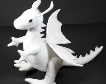 Snow Dragon Fantasy Plush ~ White Stuffed Dragon, Toy Dragon Plushie, Handcrafted Eco Friendly Gift, Winter Wyvern, Stuffies, Customizable