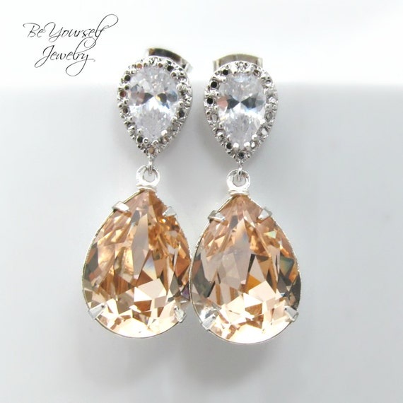 Champagne bridal earrings teardrop bride by beyourselfjewelry for Jewelry for champagne wedding dress