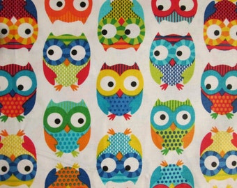 Hoot Owls Multi Colors White Cotton Fabric Fat Quarter Or Custom Listing