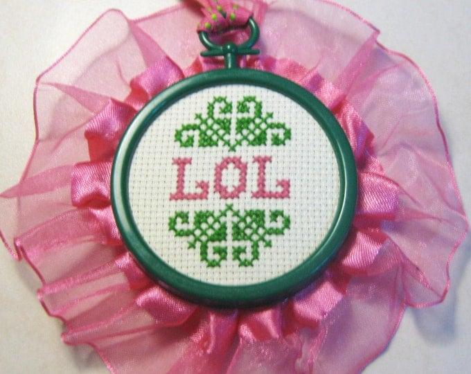 LOL - Pink and Green Mini Cross Stitch