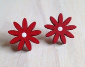 Red & White Large Flower - Silver Stud Earings - Poppy Red Statement Earrings - Studs Can Be Unnoticeable, BUT Not These, Unique, Handmade
