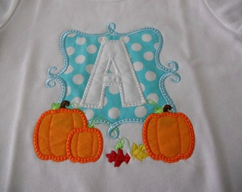 Three Pumpkins Custom boutique appliqued monogrammed personalized, boys, girls, t shirt, one piece w/snaps, fall, halloween