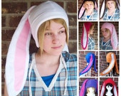 Long Eared Fleece Bunny Hats -Any Color - (White, Brown, Pink, Gray, Black, Blue) - Adult,Teen,Kid - Winter, Christmas, nerdy, geekery gift!