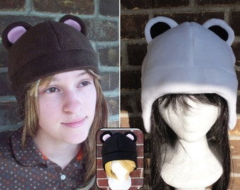 Bear Fleece Hat (Brown, Polar, Black Bear) - Fleece Hat Adult, Teen, Kid - A winter, nerdy, geekery gift!