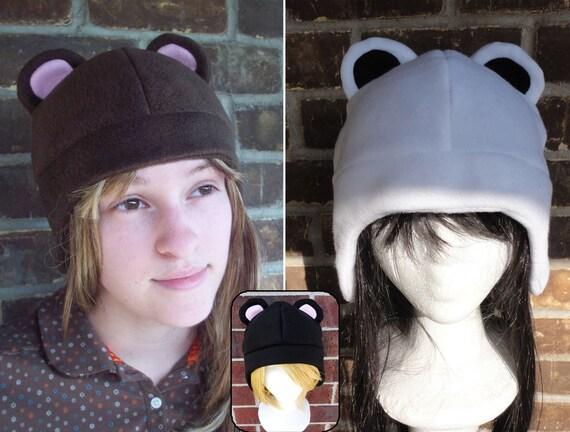 Bear Fleece Hat (Brown, Polar, Black Bear) - Fleece Hat Adult, Teen, Kid - A winter, nerdy, geekery gift!
