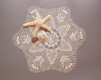 Doily, Crochet Centerpiece, cotton, shaded ecru thread, starfish motif, 18 inches round, tabletop decor, intricate detail, heirloom quality