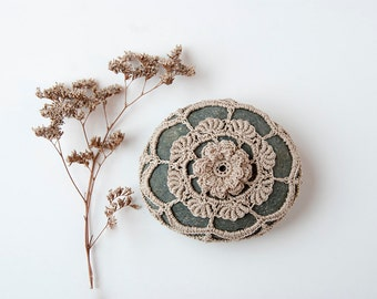 Crochet covered rock, lace stone, beach wedding, ring pillow, tabletop decor, ecru thread, bowl element, paperweight, fiber art object