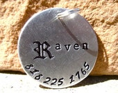 The Raven (#033) - Handstamped Gothic Old English Pet ID Tag Aluminum Dogs Larger Unique