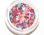 Summer Heat Mix, Solvent Resistant Glitter Mix, 5 GRAM JAR. Raw Nail Glitter Mix for Nail Polish and Nail Art