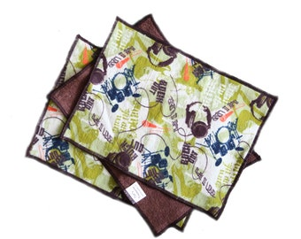 Rock Out Flannel and Terrycloth Burp Rags Set of 2 or 3, Ready to Ship