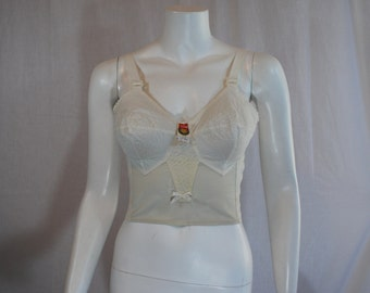 1950s White Formfit Bullet Bra, 34 C, Long Line Circle Stitched, New Old Stock