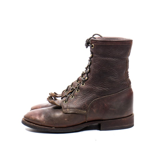 s larry mahan roper boot in lace up brownleather with