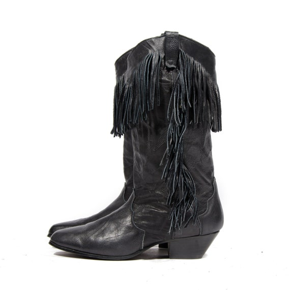 s dingo black fringe boots western cowboy boots