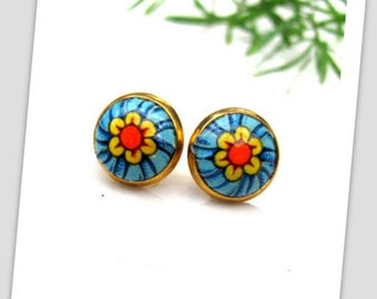 Blue & Orange flower Paper Studs Earrings