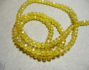 Crystal Beads Faceted Yellow AB Rondelles 4x3mm