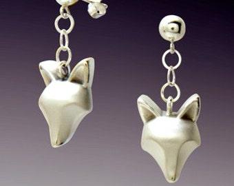 silver fox dangle earrings