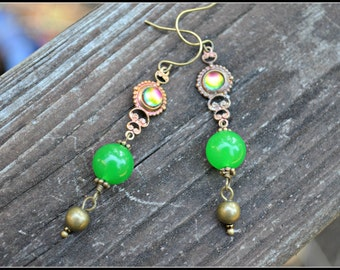 Bright Green Earrings with Vintage Charm And Brass Accents handmade jewelry gift