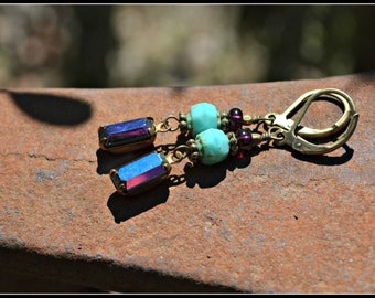 Vintage Purple Glass Earrings with Turquoise Czech Glass Beads and Brass Accents
