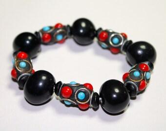 Bombona Seeds and African Beads Bracelet/ Folk Style/ Boho/ Bohemian