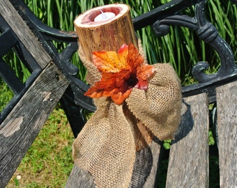 Fall Wedding Decor, Wood  Centerpiece,  Wood Candle Holder Centerpiece, Burlap & Fall Leaves Decor,