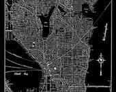 Seattle - Seattle Map Art Poster - Seattle Street Map - Black Vintage