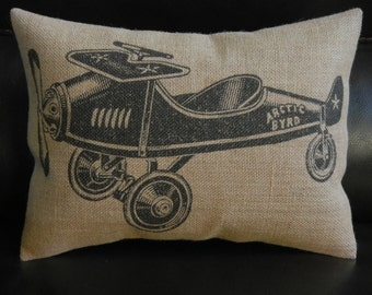 Vintage Toy Airplane Burlap Pillow, Airplane Nursery, INSERT INCLUDED