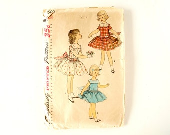 Vintage 1950s Simplicity Pattern 1500,Child's One-Piece Dress with Petticoat (Complete, Size 5) - Collectible, Altered Art, Sewing Pattern