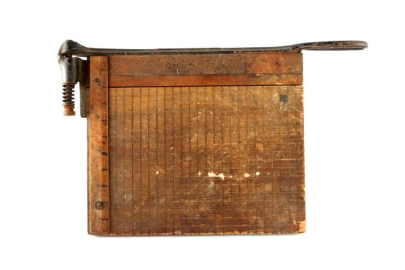 Vintage / Antique Paper Cutter with Large Blade (c.1800s) - Industrial Home Decor, Man Cave, Cutting Board
