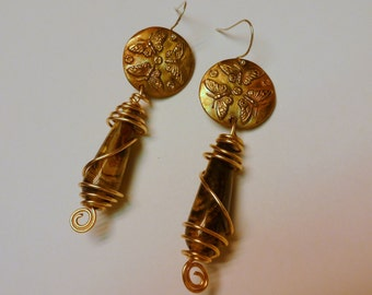 Handcrafted Bronze (PMC) and natural Jasper earrings. Three Butterflies. Wire wrapped