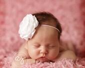 Baby Headband..Baby Girl Headband..Baby Girl Flower Headband..Pink Headband..White Headband..Pink and White Headband..Flower Headband