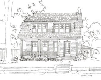 House Rendering, Custom Home Drawing, architectural