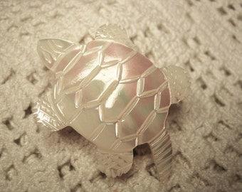 Vintage Deep Carved Mother of Pearl Turtle Brooch