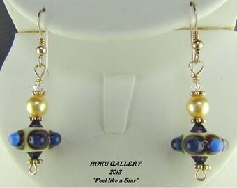"""Studded Opal Fuchsia, Blue & Purple Lampwork Glass, Cream, Purple, Gold Pearls - Evolving Bubbles Earrings - 1.5"""""""