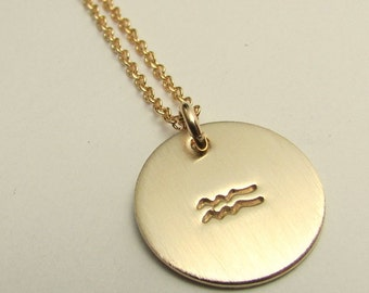 Zodiac Charm Necklace, Aquarius Symbol Necklace, Aquarius Charm Necklace, Gold Filled Stamped Charm Necklace, January, February birthday