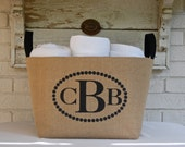20% OFF! Monogram Burlap Bin Container chic storage, Great Bridesmaid gift, birthday, personalized gift. Charming home decor