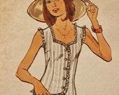 Vintage 70's Butterick Hippie Era Boho Sweetheart Neckline Snug Fitting Blouse 3501 Sewing Pattern Size 14 Bust 36