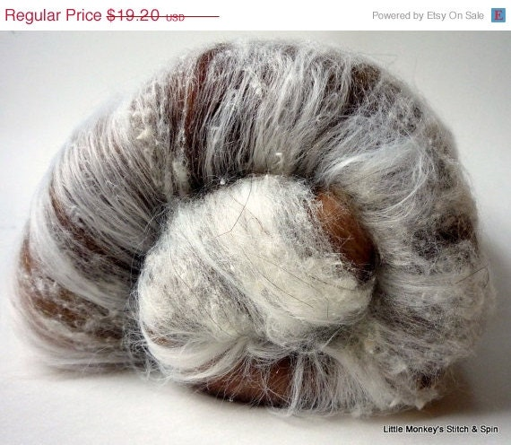 "SALE Spinning Batt, merino bamboo and sparkle, 3.2 oz ""Hot Cocoa"""