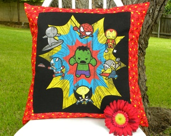 Pillow Cover - Tiny Tot Avengers/Marvel Comics Heroes and Vintage Red Bandana Fabric - 18 x 18