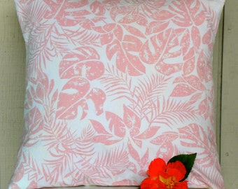 Pillow Cover - Vintage Pink and White Tropical Batik-Inspired Fabric - 18 x 18