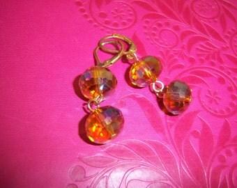 Beautiful Pair of Dangling Aurora Borealis Gold Crystal Pierced Earrings
