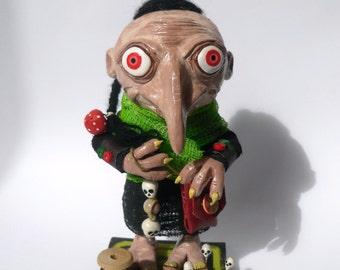 Mixed Media Art Doll - Polymer Clay Sculpture - Goblin Figurine - Bartholomew The Tailor - Fantasy Creature - OOAK