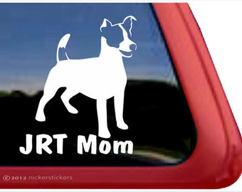 JRT Mom | DC862MOM | High Quality Adhesive Jack Russell Terrier Vinyl Window Decal Sticker