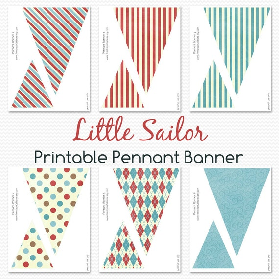 Pennant Banner, Nautical Baby Shower, First Birthday Decorations, Room Decor, Bunting, Little Sailor -- Printable File, Instant Download