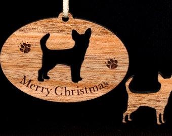 Chihuahua Ornament, Pet Ornament, Chihuahuas,  Wood, Christmas Tree Ornament