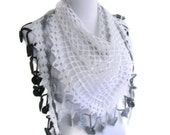 Crochet scarf,hand-knitted,fashion,gift, Women, unique scarf, for her gifts, Black  white scarf, christmas, autumn