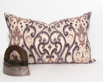 IKAT Decorative Pillow Cover Designer Pillow Brown Gray Black Taupe Natural  Custom Sizing Available!