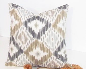SALE!!! Ready to Ship!!! Robert Allen Diamond Ikat  Natural Designer Decorative Pillow Cover Handmade in the USA