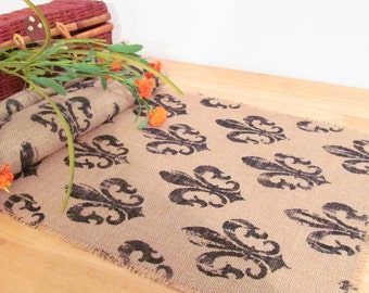 Stylish and Chic Fleur De Lys  Printed  Burlap Table Runner Handmade in the USA
