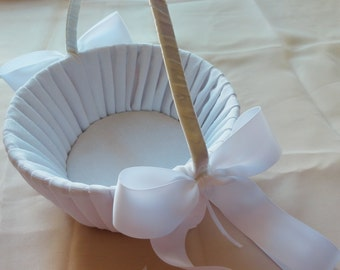White Flower Girl Basket Shantung Silk with White Ribbon