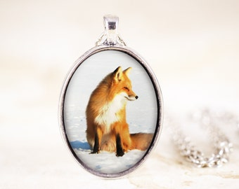 Red Fox Necklace - Sitting Fox Pendant, Silver Fox Jewelry, Fox Animal Necklace, Silver Fox Necklace, Animal Photography, Animal Jewelry